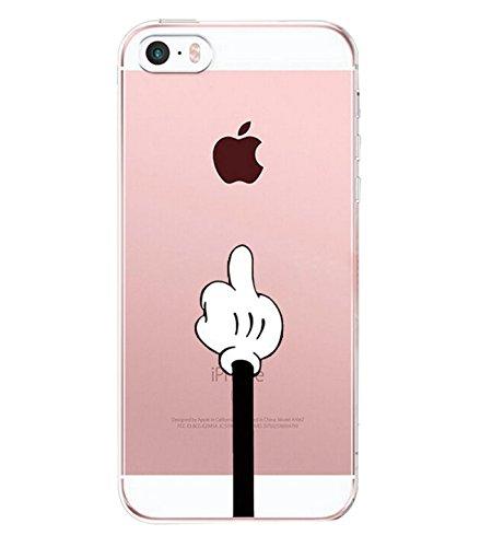 vanki Coque iPhone 5/5S/SE, Simple Motif Noir Blanc Housse Transparente, Housse TPU Souple Etui de Protection Silicone Case Soft Gel Cover Anti Rayure Anti Choc Iphone5/5S/SE 1