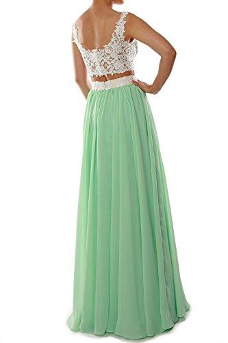 MACloth Women's O Neck Long Chiffon Bridesmaid Dress Formal Evening Party Gown (EU40, Azul Marino Oscuro)