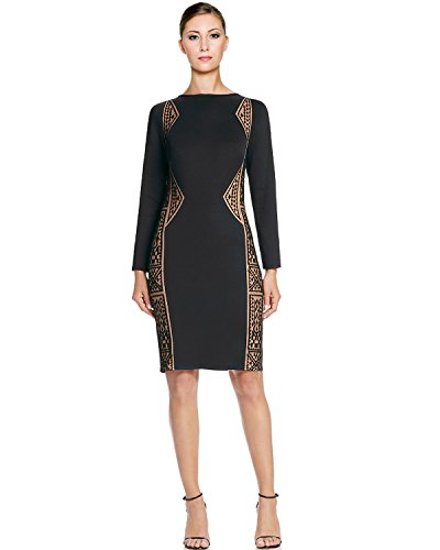 Tadashi Shoji Geometric Lace Inset Long Sleeve Sheath Cocktail Dress
