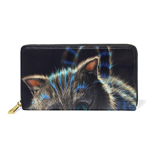 uine Leather Girl Zipper Wallets Cool Cat Clutch Coin Phone (Deer Genuine Leather Lace)
