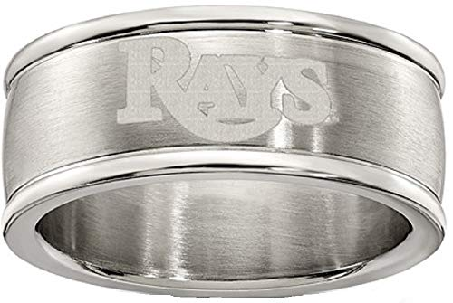(MLB Tampa Bay Rays TAMPA BAY RAYS STAINLESS STEEL LOGO BAND RING SIZE 8 Size One Size)