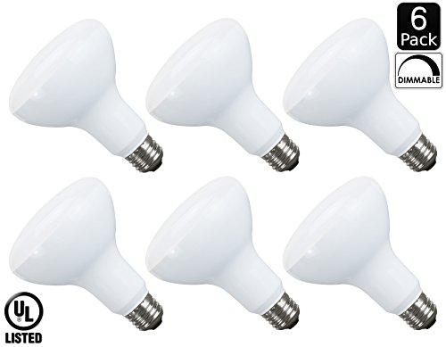 Luxrite LR31815 (6-Pack) 10-Watt LED BR30 Flood Light Bulb, 65W Equivalent, Dimmable, Daylight White 6500K, 650 Lumens, E26 Base, UL (Br30 Shape)