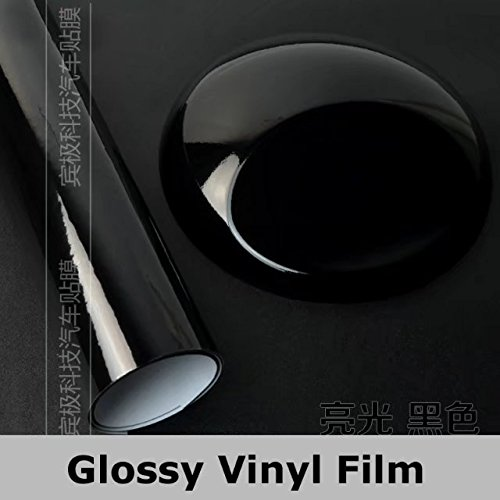 Car Body Film (Black LGM Bright Glossy Vinyl Film Sheet Decal Car Styling Body Wrap Motorcycle Truck Wrapping Foil)