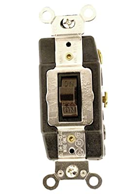 Leviton 1282 15 Amp, 120/277 Volt, Toggle Double Throw, Center Off, Maintained Contact Double Pole, AC Quiet Switch, Industrial Grade, Grounding, Brown