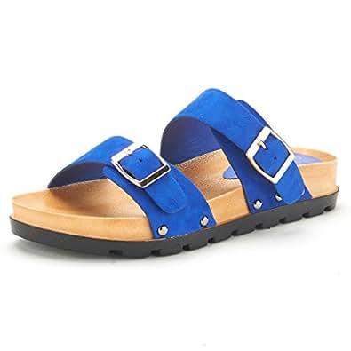 DREAM PAIRS ABI Women's Summer Open Toe Double Buckle Strap Fashion Design Slide On Flat Gladiator Sandals BLUE SIZE 5