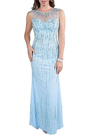 Milano Formals Women's Sheer Diamante Long Sky Blue Evening Dress