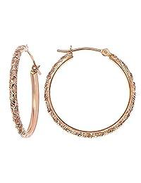 14k Gold Hand Engraved Diamond-cut Round Hoop Earrings -1'' Diameter