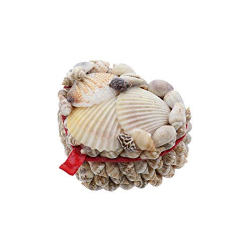 Li'Shay 2 Inch Mini Natural Seashell Covered Trinket Jewelry Box - Heart