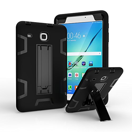 Hard case for Galaxy Tab E 8.0 [T377 Case], Hybrid Heavy Duty Shockproof Impact Resistant Armor Kickstand Defender Protection Case for Samsung Galaxy Tab E 8.0 inch T377/T375 (All Black)