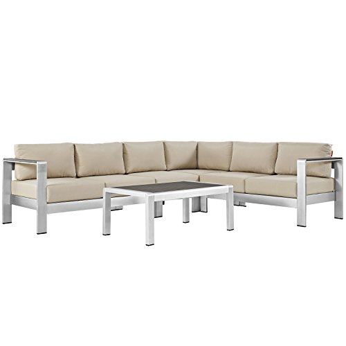 Sectional Sofa Asian (Modway Shore 5-Piece Aluminum Outdoor Patio Sectional Sofa Set in Silver Beige)