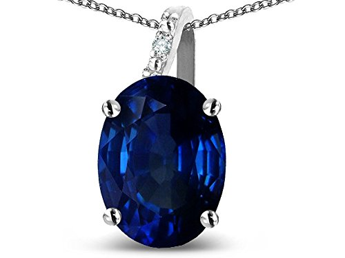 (Star K Oval 9x7 Created Sapphire Journey Pendant Necklace 14 kt White Gold)
