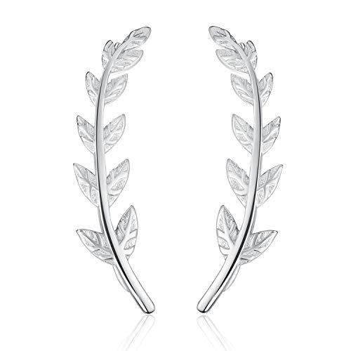Esberry 18K Gold Plating 925 Sterling Silver Leaf Stud Earrings Leaves Shape Earrings Jewelry for Women and Girls (White Gold-2)