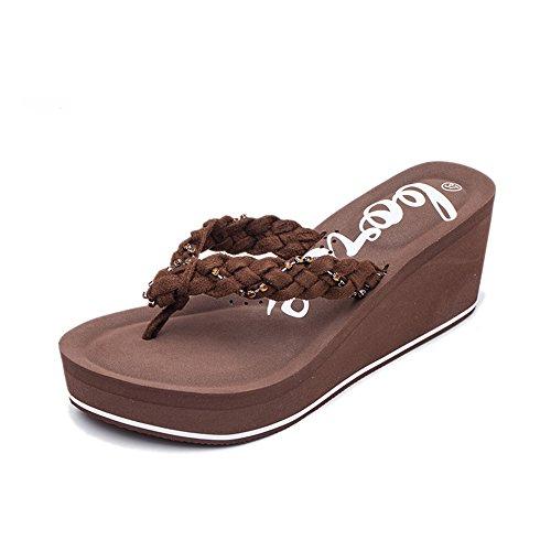 Sandalias y zapatillas femeninas Sandalias de tacón antideslizante de verano Pendientes de aumento de la playa Zapatos de playa ( Tamaño : EU38/UK5.5/CN38 )