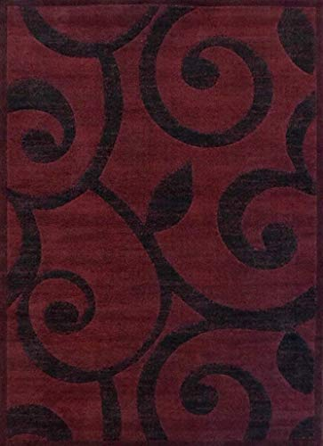 Americana Modern Contemporary Area Rug Burgundy & Black Design 154 (6 Feet X 9 Feet)