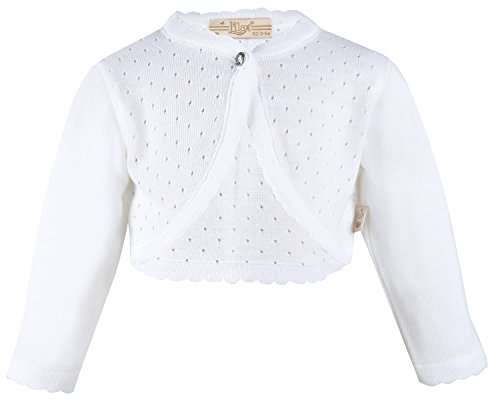 Baby Shrug - Lilax Baby Girls' Knit Long Sleeve One Button Closure Bolero Shrug 12-18 Months White