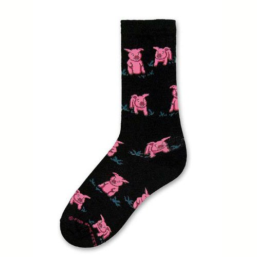 Pigs Black 100% Cotton Crew Socks - Made in USA - Size Medium (Womens (For Bare Feet Cotton Crew Socks)