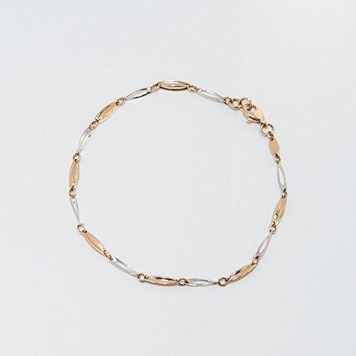 ASS 585or chaîne bracelet bicolore 'Fantasia' 18cm 2mm de largeur 2,3g