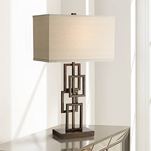 Kory Modern Table Lamp Dark Bronze Metal Stacked Geometric Base Rectangular Shade for Living Room Family Bedroom Bedside - 360 ()