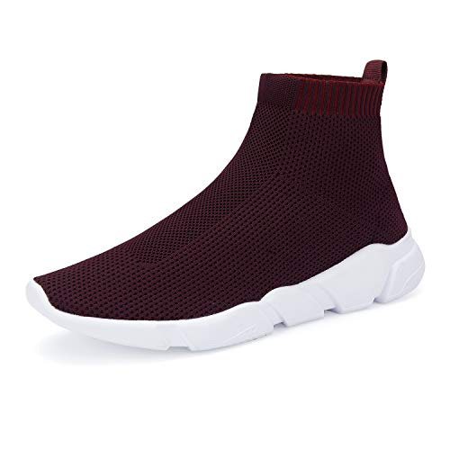 WXQ Women's Athletic Walking Shoes Lightweight Fashion Sneakers Breathable Flyknit Running Shoes Wine Red 38