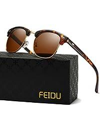 Retro Polarized Clubmaster Sunglasses for Men Half Metal...