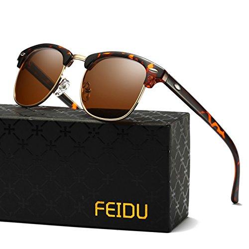 Clubmaster Style Sunglasses - FEIDU Retro Polarized Clubmaster Sunglasses for Men Half Metal Women FD3030(Brown/Leopard)