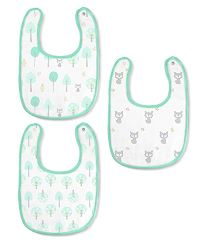 SwaddleDesigns Cotton Muslin Bibs, Set of 3, Green Woodland