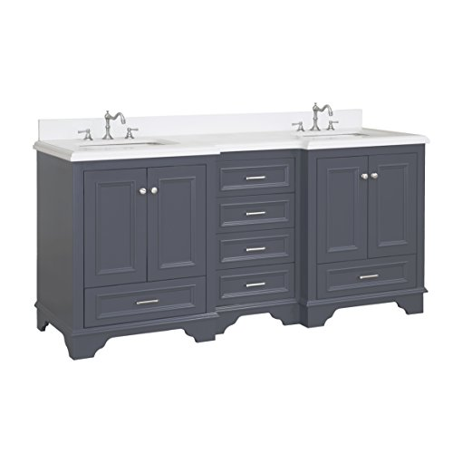 Nantucket 72-inch Bathroom Vanity (Quartz/Charcoal Gray): Includes Charcoal Gray Cabinet with Soft Close Drawers, Quartz Countertop, and Two Ceramic (Ronbow Stone Counter)