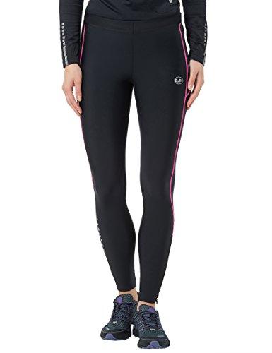 Ultrasport Damen Laufhose mit Kompressionswirkung und Quick-Dry-Funktion Lang, Schwarz/Neon Pink, M