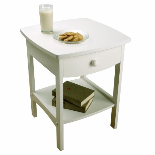 Winsome Wood Curved End Table/Night Stand With One Drawer White