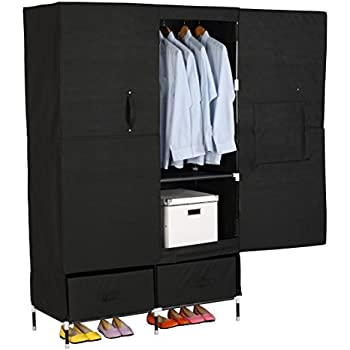 WOLTU Portable Clothes Closet Wardrobe Storage With 2 Drawer Cloth Organizer Magnet Doors Steel Shoe