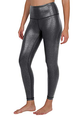 90 Degree By Reflex - Performance Activewear - Printed Yoga Leggings - Silver Foil Print - Small