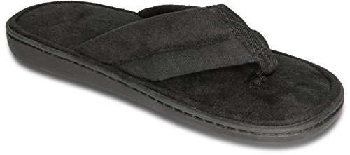 Deluxe Comfort Mens Memory Foam Slipper, Size 11-12 - Soft Linen 120D SBR Insole & Rubber Outsole - Pure Suede Shoes - Non Marking Sole - Mens Slippers, Black