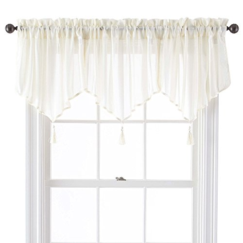 Five Queens Court Farmington Woven Stripe Sheer Ascot Valance, 21