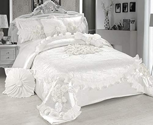 Tache Home Fashion White 6 Piece Solid Floral Satin Comforter Set, King, Sweet Victorian