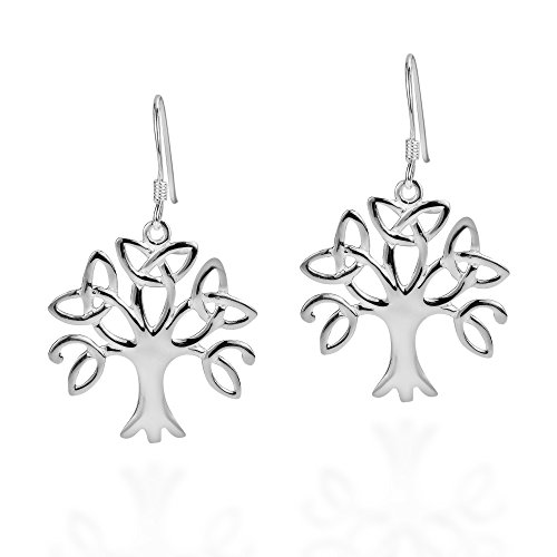 .925 Sterling Silver Tree Of Life Trinity Celtic Knot Triquetra Fish Hook Earrings (Sterling Silver Life Fish)