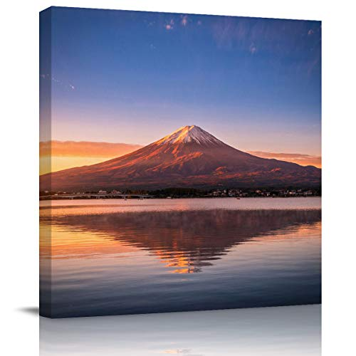 Libaoge Canvas Home Art Print for Wall - Mount Fuji at Dusk Sunset Landscape Artwork Gallery Wrapped Poster Decoration for Kitchen Office Walls - Framed, 12X12In