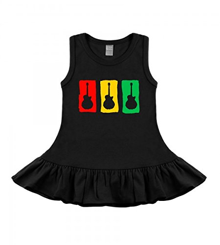 My Baby Rocks Rasta Guitar Black Sleeveless Dress R01-12517-4