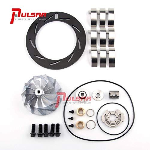 - Pulsar Turbo Billet Compressor Wheel Nitrided Unison Ring Vane Rebuild Kit for 04.5-05 6.6L Duramax LLY GT3788VA Turbo