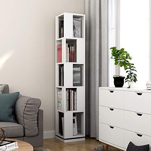 - Tribesigns 5-Tier Rotating Bookshelf, Modern Corner Bookcase for Home Office (White)