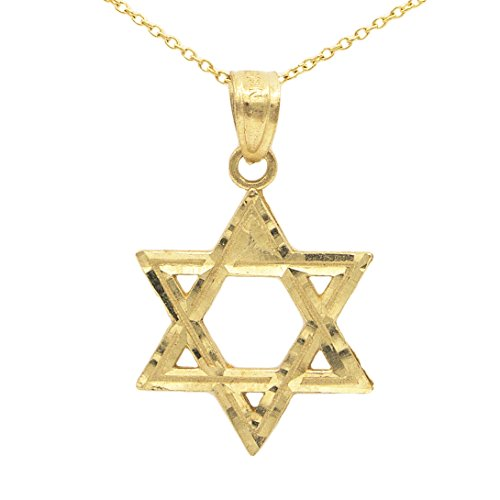 Star Of David Yellow Necklace - Ice on Fire Jewelry 14k Yellow Gold Star of David Pendant Necklace (16