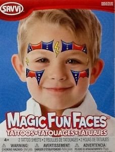 Temporary Tattoos ~ Superhero Magic Fun Faces ~ 2 Sheets (Easy Super Hero Costumes)