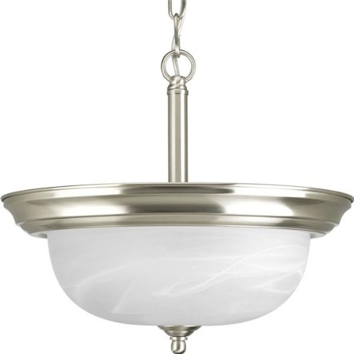 Progress Lighting P3927-09 Alabaster Series Two Light Bowl Pendant With Alabaster Dome Glass Shade Convertible To Semi Flush Ceiling (2 Light Convertible Bowl Pendant)