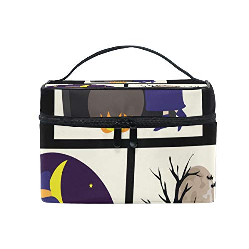 Makeup Organizer Halloween Witch Set Womens Zip Toiletry Bag Large Case Cosmetic Bags]()