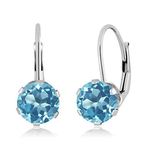 - Gem Stone King 14K White Gold Swiss Blue Topaz Gemstone Birthstone Earrings, 2.00 Ctw Round 6MM