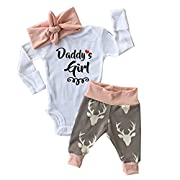 Newborn Infant Baby Girl Romper Pants Bodysuit Outfits Set (0-3 Month)