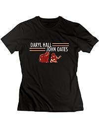 Women Daryl Hall and John Oates Tour Classic Hiking Black T-Shirt Short Sleeve