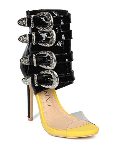 Donna Sandalo In Similpelle Perspex Peep Toe Fibbia Alla Caviglia Polsino Con Stiletto - Hg83 By Mackinj Collection Yellow Mix Media