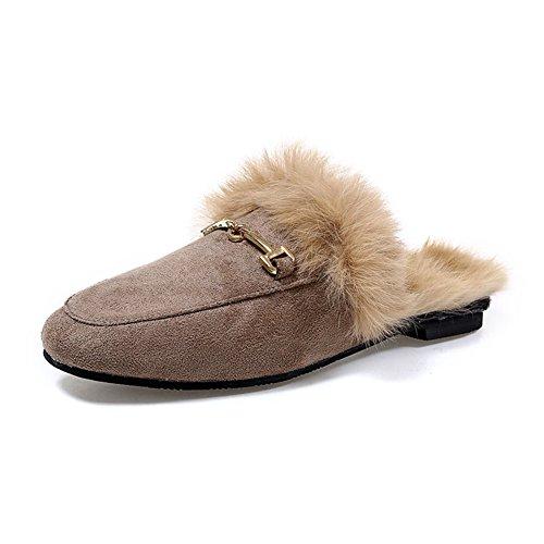 JOYMARS+Women%27s+Soft+Slip-On+Loafer+Slides+Velvet+Backless+Fur+Mules+%28US+8.5%2C+Khaki%29