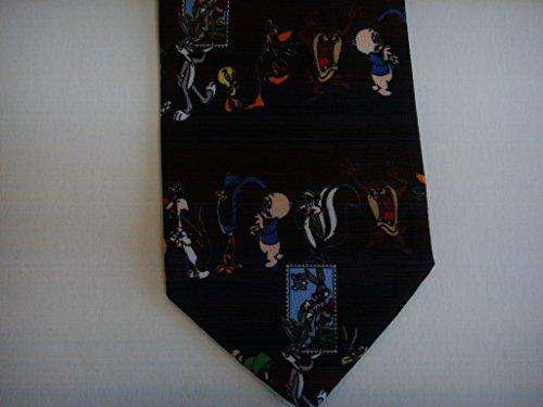 Mens Tie Looney Tunes Stamp Collection Sylvester Tweety Bugs Bunny Black Necktie