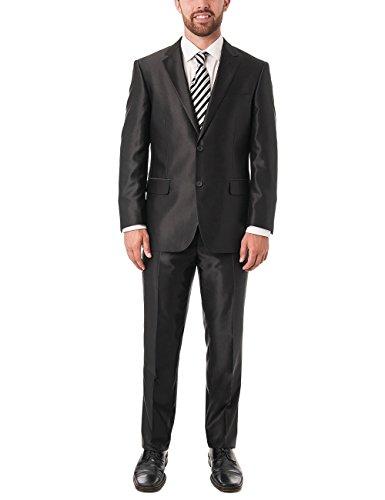 Chama Men's Black Shark-skin Classic Fit Italian Styled Two Piece Suit (38S US/32W) - Black Italian Suit